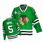 Reebok Chicago Blackhawks 5 Brent Sopel Authentic Green Man NHL Jersey with Stanley Cup Finals