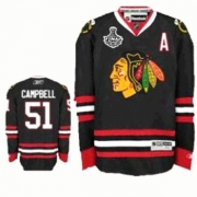 Reebok Chicago Blackhawks 51 Brian Campbell Authentic Black Man NHL Jersey with Stanley Cup Finals