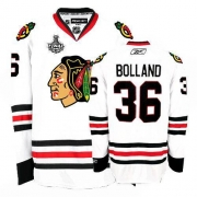 Reebok Chicago Blackhawks 36 Dave Bolland Premier White Man NHL Jersey with Stanley Cup Finals