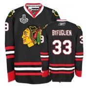 Reebok Chicago Blackhawks 33 Dustin Byfuglien Premier Black Man NHL Jersey with Stanley Cup Finals