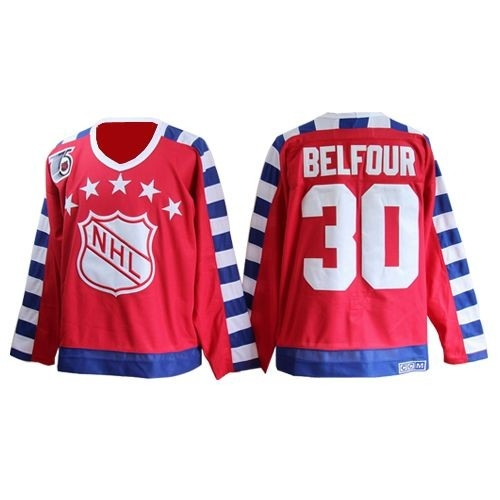CCM Chicago Blackhawks 30 ED Belfour Red Throwback All Star With 75TH Patch Authentic NHL Jersey