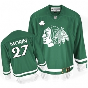 Reebok Chicago Blackhawks 27 Jeremy Morin Authentic Green St Patty's Day Man NHL Jersey