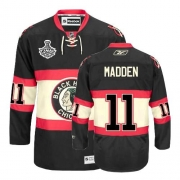 Reebok Chicago Blackhawks 11 John Madden Authentic Black New Third Man NHL Jersey with Stanley Cup Finals
