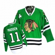 Reebok Chicago Blackhawks 11 John Madden Authentic Green Man NHL Jersey