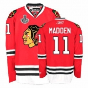 Reebok Chicago Blackhawks 11 John Madden Authentic Red Home Man NHL Jersey with Stanley Cup Finals