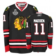 Reebok Chicago Blackhawks 11 John Madden Premier Black Man NHL Jersey with Stanley Cup Finals