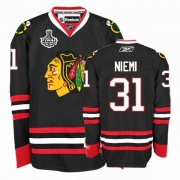 Reebok Chicago Blackhawks 31 Antti Niemi Authentic Black Man NHL Jersey with Stanley Cup Finals
