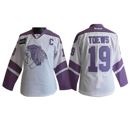 big sale bf1df b5811 Chicago Blackhawks 19 Jonathan Toews White/Purple Women's ...