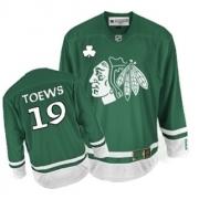 Youth Reebok Chicago Blackhawks 19 Jonathan Toews Authentic Green St Patty's Day NHL Jersey