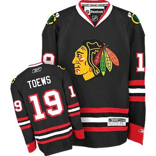 Reebok Chicago Blackhawks 19 Jonathan Toews Authentic Black Man NHL Jersey