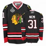 Reebok Chicago Blackhawks 31 Antti Niemi Premier Black Man NHL Jersey with Stanley Cup Finals