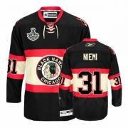Reebok Chicago Blackhawks 31 Antti Niemi Premier Black New Third Man NHL Jersey with Stanley Cup Finals