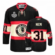 Reebok Chicago Blackhawks 31 Antti Niemi Authentic Black New Third Man NHL Jersey with Stanley Cup Finals