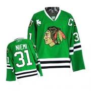 Reebok Chicago Blackhawks 31 Antti Niemi Authentic Green Man NHL Jersey