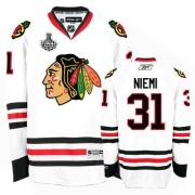 Reebok Chicago Blackhawks 31 Antti Niemi Authentic White Man NHL Jersey with Stanley Cup Finals