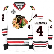 Reebok Chicago Blackhawks 4 Niklas Hjalmarsson Premier White Man NHL Jersey with Stanley Cup Finals