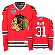 Reebok Chicago Blackhawks 31 Antti Niemi Premier Red Home Man NHL Jersey with Stanley Cup Finals