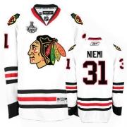 Reebok Chicago Blackhawks 31 Antti Niemi Premier White Man NHL Jersey with Stanley Cup Finals