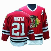 CCM Chicago Blackhawks 21 Stan Mikita Authentic Red Throwback Man NHL Jersey