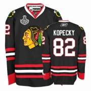 Reebok Chicago Blackhawks 82 Tomas Kopecky Authentic Black Man NHL Jersey with Stanley Cup Finals