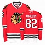 Reebok Chicago Blackhawks 82 Tomas Kopecky Authentic Red Home Man NHL Jersey