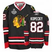 Reebok Chicago Blackhawks 82 Tomas Kopecky Premier Black Man NHL Jersey with Stanley Cup Finals