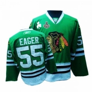Reebok Chicago Blackhawks 55 Ben Eager Authentic Green Man NHL Jersey with Stanley Cup Finals