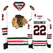 Reebok Chicago Blackhawks 22 Troy Brouwer Authentic White Man NHL Jersey