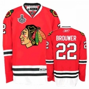 Reebok Chicago Blackhawks 22 Troy Brouwer Premier Red Home Man NHL Jersey with Stanley Cup Finals