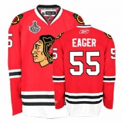 Reebok Chicago Blackhawks 55 Ben Eager Premier Red Home Man NHL Jersey with Stanley Cup Finals