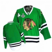 Reebok Chicago Blackhawks Authentic Blank Green Man NHL Jersey with Stanley Cup Finals
