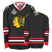 Reebok Chicago Blackhawks Premier Blank Black Man NHL Jersey with Stanley Cup Finals