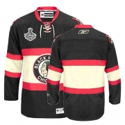 Reebok Chicago Blackhawks Authentic Blank Black New Third Man NHL Jersey with Stanley Cup Finals