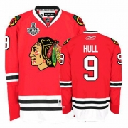Reebok Chicago Blackhawks 9 Bobby Hull Premier Red Home Man NHL Jersey with Stanley Cup Finals