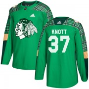 Adidas Chicago Blackhawks 37 Graham Knott Authentic Green St. Patrick's Day Practice Youth NHL Jersey