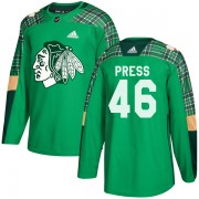 Adidas Chicago Blackhawks 46 Robin Press Authentic Green St. Patrick's Day Practice Youth NHL Jersey