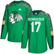 Adidas Chicago Blackhawks 17 Jordan Schroeder Authentic Green St. Patrick's Day Practice Youth NHL Jersey