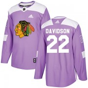 Adidas Chicago Blackhawks 22 Brandon Davidson Authentic Purple Fights Cancer Practice Youth NHL Jersey