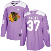 Adidas Chicago Blackhawks 37 Graham Knott Authentic Purple Fights Cancer Practice Youth NHL Jersey