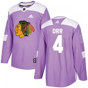 Adidas Chicago Blackhawks 4 Bobby Orr Authentic Purple Fights Cancer Practice Youth NHL Jersey