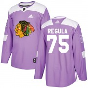Adidas Chicago Blackhawks 75 Alec Regula Authentic Purple ized Fights Cancer Practice Youth NHL Jersey
