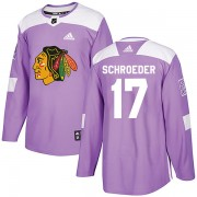 Adidas Chicago Blackhawks 17 Jordan Schroeder Authentic Purple Fights Cancer Practice Youth NHL Jersey