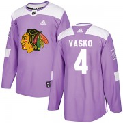 Adidas Chicago Blackhawks 4 Elmer Vasko Authentic Purple Fights Cancer Practice Youth NHL Jersey