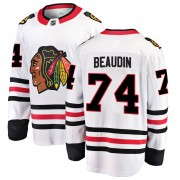 Fanatics Branded Chicago Blackhawks 74 Nicolas Beaudin White ized Breakaway Away Men's NHL Jersey