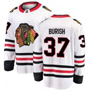 Fanatics Branded Chicago Blackhawks 37 Adam Burish White Breakaway Away Men's NHL Jersey