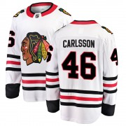 Fanatics Branded Chicago Blackhawks 46 Lucas Carlsson White ized Breakaway Away Men's NHL Jersey