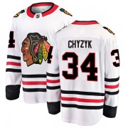 Fanatics Branded Chicago Blackhawks 34 Bryn Chyzyk White Breakaway Away Men's NHL Jersey
