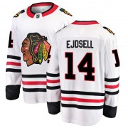 Fanatics Branded Chicago Blackhawks 14 Victor Ejdsell White Breakaway Away Men's NHL Jersey