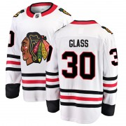 Fanatics Branded Chicago Blackhawks 30 Jeff Glass White Breakaway Away Men's NHL Jersey