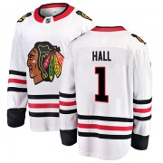 Fanatics Branded Chicago Blackhawks 1 Glenn Hall White Breakaway Away Men's NHL Jersey